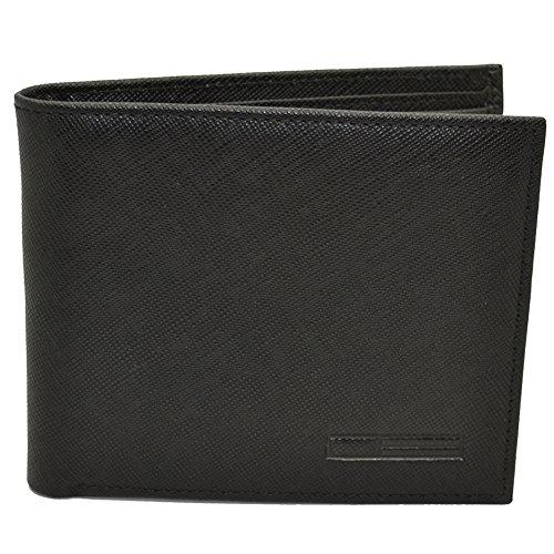 Leather Saffiano Bi Fold Wallet (Men's Slim Bifold Wallet with 6 Credit Card Slots (Black))