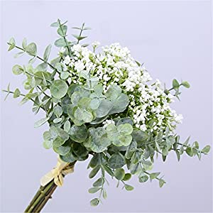 Skyseen Artificial Flowers Eucalyptus Leaf Babys Breath Gypsophila Bouquets Wedding Party Home Decor,Pack of 1(White) 6