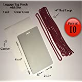 """QTY: 10 - 5 mil Luggage Tag Laminating Pouch w/ slot Vertical 2 1/2"""" x 4 1/4"""" with 6"""" Plastic Loop (Red)"""
