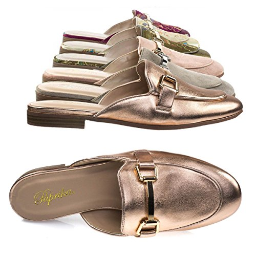 Paprika Vrouwen Goud Toon Horsebit Hardware Backless Slip Op Loafer Dark Penny Goud