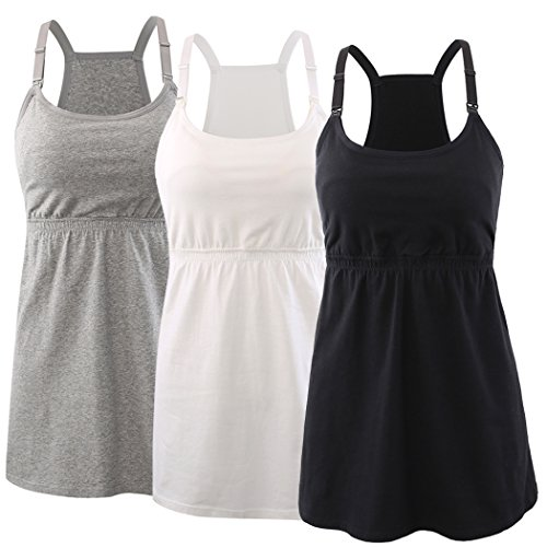 - KUCI Maternity Nursing Top Tank Cami, Women Mateniry Nursing Sleep Bra Breastfeeding Tops for Pregnancy (L, Black+Grey+White/3Pack)