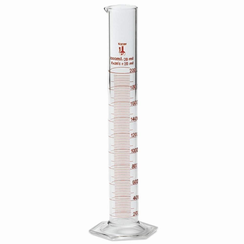 2000ml Graduated Cylinder, Borosilicate 3.3 Glass, Single Metric Scale, Karter Scientific 213I16 (Single)