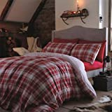 Catherine Lansfield Tartan Flannelette Red King Size Duvet Set by Catherine Lansfield