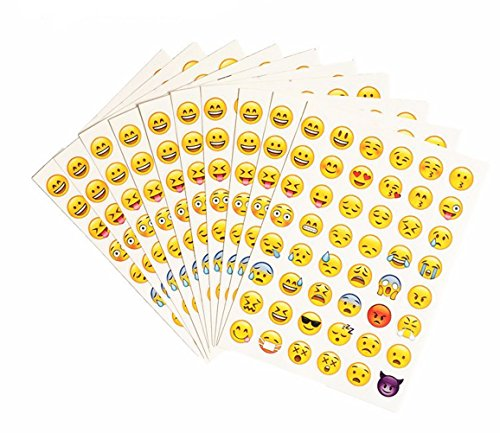 HAPTIME 20 Sheets Popular Emoji Stickers Cute 48 Different Emoticon Faces Total 960 Stickers, Decorative Vinyl Decals for Crafts Scrapbook Party Favors