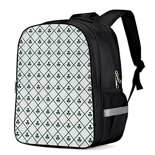 (Happy St. Patrick's Day Students Backpack for School Bookbag Casual Shoulder Daypack Travel Back Pack Bags for Teen Boys Girls, Vintage Checker Plaid Tile Clover Leaf)