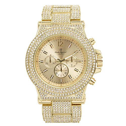 (Bust Down Your Wrist with This Hip Hop Bling-ed Out Gold Tone Mens Watch - 8720 Gold)