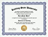 Knitting Knitter Degree: Custom Gag Diploma Knit Doctorate Certificate (Funny Customized Joke Gift - Novelty Item)
