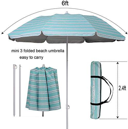 Stripe Beach Umbrella (Ammsun 2017 6ft Folded Beach Umbrella with Tilt Portable Cabana Silver Coating Inside UV Protection Stripe (Green))