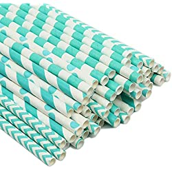 ZOOYOO Paper Straw 100pc For Parties,Birthdays,Weddings,Baby Showers And Celebrations (Turquoise)