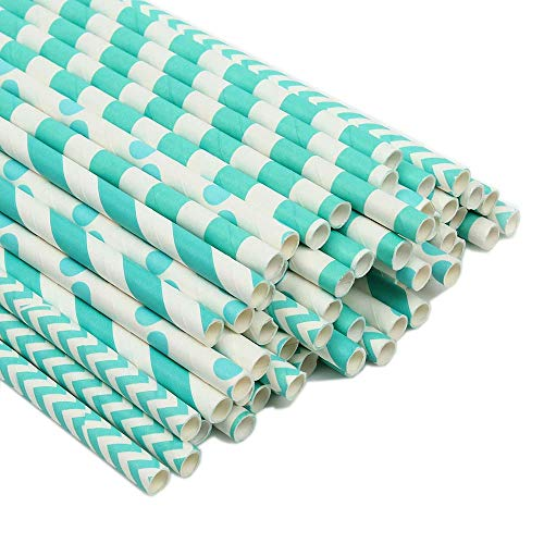 ZOOYOO Paper Straw 100pc For Parties,Birthdays,Weddings,Baby Showers And Celebrations (Turquoise)]()