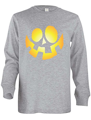 Tenacitee Girl's Youth Jack-O-Lantern Long Sleeve T-Shirt, Small, Heather Grey
