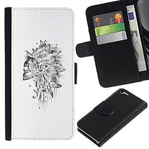 KLONGSHOP // Tirón de la caja Cartera de cuero con ranuras para tarjetas - Cráneo indio Sombrero Pluma Blanca - Apple Iphone 6 //