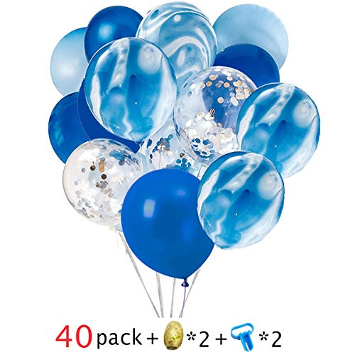 40 Pcs Blue & Silver Confetti Balloons Agate Marble Stripe Assorted Colors Party Balloon for Birthday Wedding Party Decoration Supply -Giving 2 Pcs Balloon Tying Tool and 2pcs 10m Gold Curling Ribbon]()