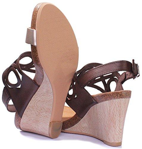 Justin Reece Emilia Womens Leather Wedge Footbed Sandal Brown bqVsO