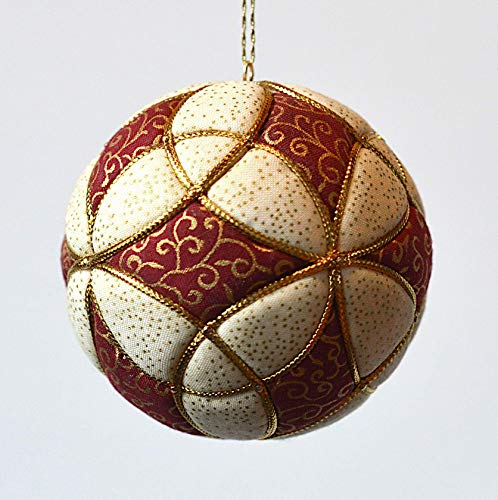 Red, Cream and Gold Fabric Christmas Ornament 3