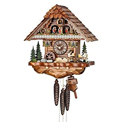 German Cuckoo Clock 1-day-movement Chalet-Style 14.00 inch - Authentic black forest cuckoo clock by Hekas