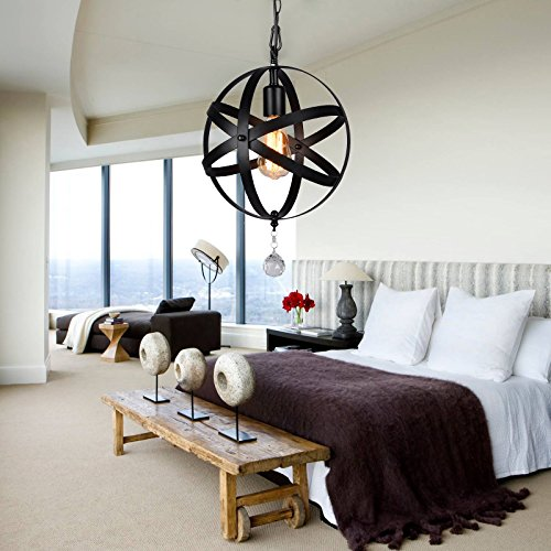 HMVPL Plug-in Industrial Globe Pendant Lights with 16.4 Ft Hanging Cord and Dimmable On/Off Switch, Vintage Metal Spherical Lantern Chandelier Ceiling Light Fixture by HMVPL (Image #2)