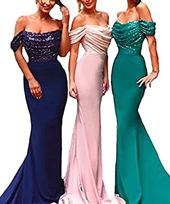 Alanre Women's Off Shoulder Sequin Bridesmaid Dress Chiffon Mermaid Evening Prom Gowns Cap Sleeves Emerald Green 28