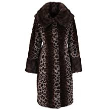 Enjoy Fur Women's Brown Full Length Leopard Print Faux Mink Fur Coat (Size: M)
