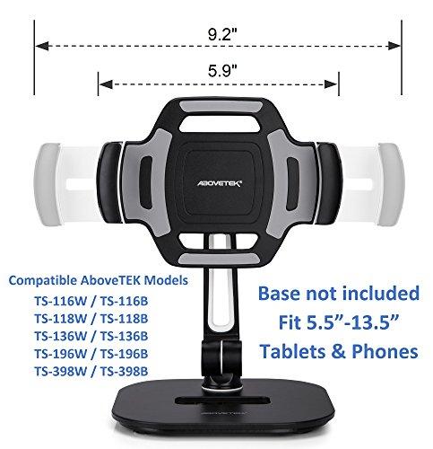 "AboveTEK Bracket Tablet Holder for 5.5-13.5"" Tablet & Phone (Holder Only), to Be Paired with Compatible AboveTEK Tablet Stand as Swivel Folding Clamp Mount for Kitchen Office Desk POS Kiosk Reception"