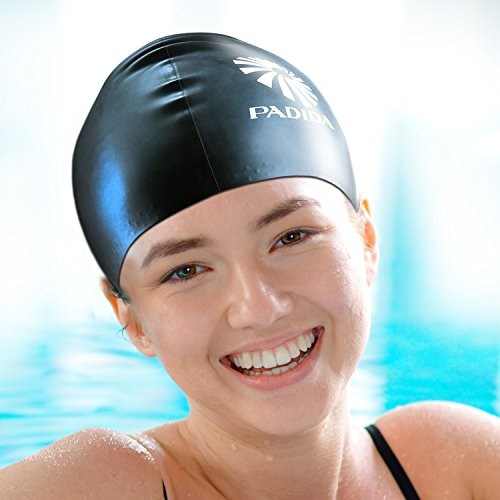 WELKOOM Swim Cap for Women, Silicone Resilient Waterproof Solid Swimming Cap, Anti-Slip Interior, Suitable for Long or Short Hair Adult, Female, Male, Comfortable Fit