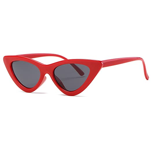 bcd3940ec8 Kimorn Cat Eye Sunglasses Women Clout Goggles Kurt Cobain Retro Sun Glasses  K0566 (Red Black)
