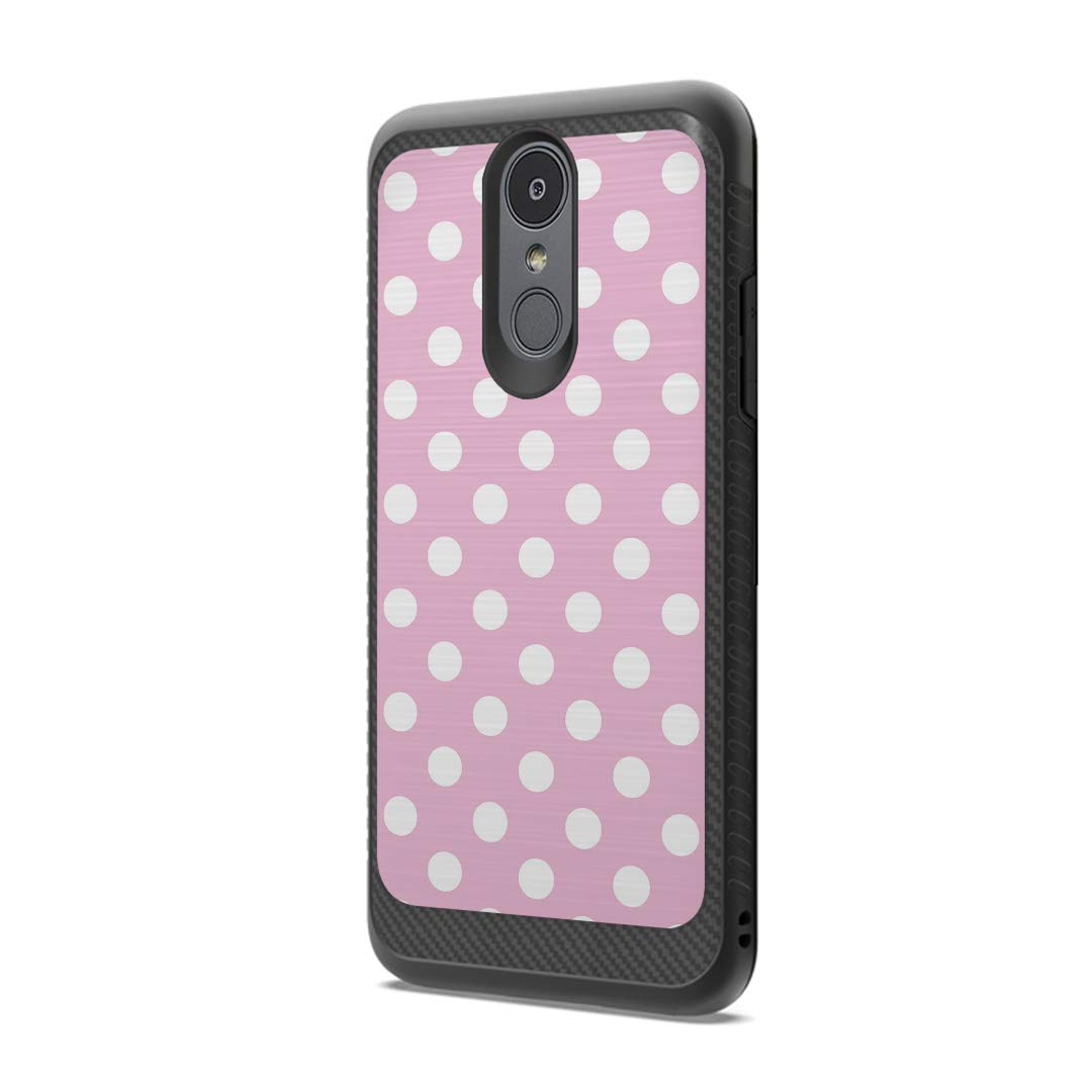 Moriko Case Compatible with LG Aristo 3, 3 Plus, Rebel 4 LTE [Drop Protection Dust Shock Impact Proof Soft Grip Carbon Fiber Protective Black Case Cover] for LG Aristo (Polka Dot Pink)