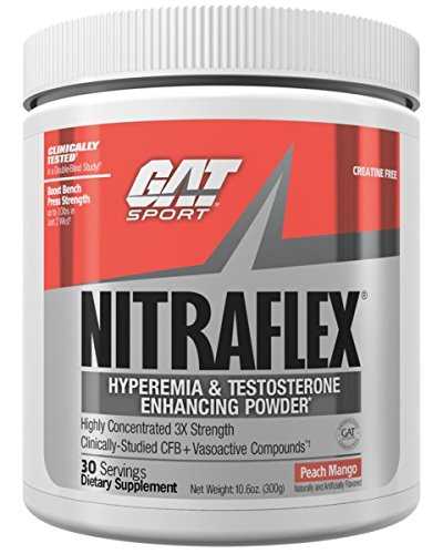 GAT - NITRAFLEX - Testosterone Boosting Powder, Increases Blood Flow, Boosts Strength and Energy, Improves Exercise Performance, Creatine-Free (Peach Mango, 30 Servings) by GAT Sport