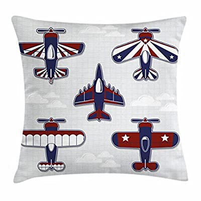 Boy's Room Throw Pillow Cushion Cover by Lunarable, America Inspired Toy Planes with Stripes and Stars War Plane Show Plane, Decorative Square Accent Pillow Case, Red White Blue