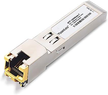 YuanLey Módulo Transceptor SFP, Interfaz RJ45 1000Mbps 1000Base-T 100 Meter, Compatible for Cisco, Netgear, Ubiquiti, TP-Link, D-Link, Linksys, ...