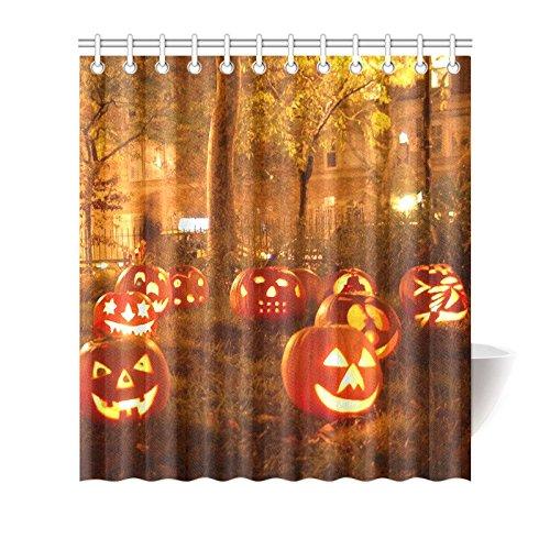 CTIGERS Halloween Shower Curtain Decorations Pumpkin Lanterns on the Ground Polyester Fabric Bathroom Decor 66 x 72 Inch