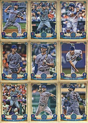 2019 Gypsy Queen Baseball New York Mets Team Set of 12 Cards: Zack Wheeler(#59), Luis Guillorme(#119), Todd Frazier(#137), Seth Lugo(#161), Brandon Nimmo(#176), Jacob deGrom(#200), Edwin Diaz(#247), Jeff McNeil(#257), Amed Rosario(#259), Robinson Cano(#285), Noah Syndergaard(#291), Michael Conforto(#297)