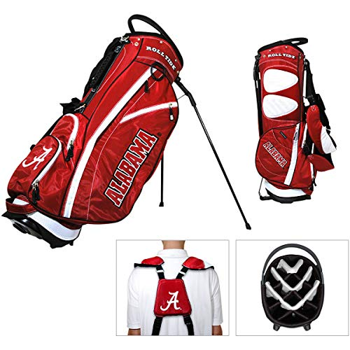 Team Golf NCAA Alabama Crimson Tide Fairway Golf Stand Bag, Lightweight, 14-way Top, Spring Action Stand, Insulated Cooler Pocket, Padded Strap, Umbrella Holder & Removable Rain Hood