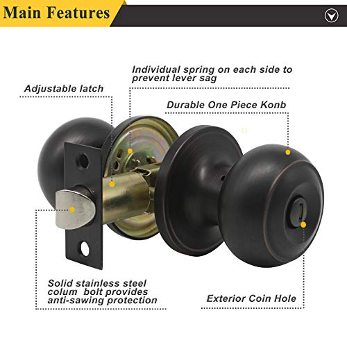 Probrico Privacy Door Knob Handles Bed and Bath Keyless Leversets Oil Rubbed Bronze Lockset 6 Pack by Probrico (Image #3)