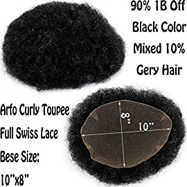 Rossy&Nancy Toupee for Men Afro Curly Brazilian Human Hair Replacement Hairpiece Full French Lace 10″x8″ 1B Off Black Color Mixed 10% Grey Hair