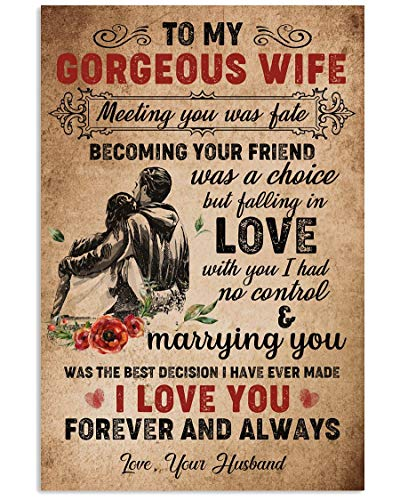 to My Gorgeous Wife Meeting You was Fate Becoming Your Friend was A Choice But Falling in Love with You I Had No Control I Love You Forever and Always Love Your Husband Gift for Valentine Anniversary