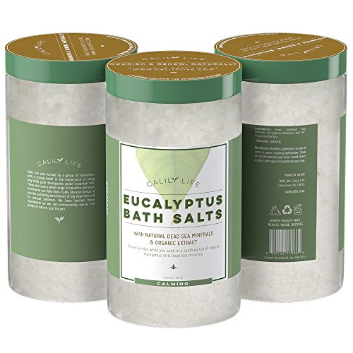 Calily Life Organic Dead Sea Salt with Natural Pure Eucalyptus Essential Oil, 32 Oz. – Amazingly Luxurious and Therapeutic Bath Salt Soak – Purifies, Soothes, Rejuvenates Mind and Body [ENHANCED]
