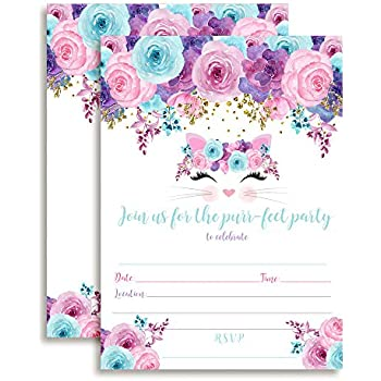 Amazon boho floral wild one girl birthday invitations ten 5x7 kitty cat face with pink blue and purple watercolor flowers birthday party invitations for girls ten 5x7 fill in cards with 10 white envelopes by filmwisefo