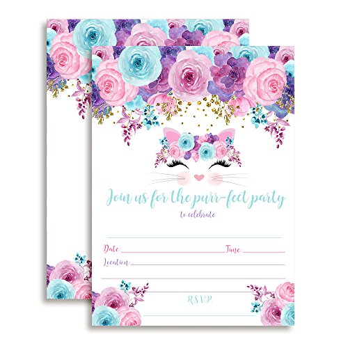 Kitty Cat Face with Pink Blue and Purple Watercolor Flowers Birthday Party Invitations for Girls, 20 5