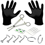 BodyJ4You Professional Body Piercing Kit 15 Pieces for Nose Ring Screw Studs 20 Gauges 0.8mm