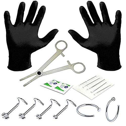 BodyJ4You Professional Body Piercing Kit 15 Pieces for Nose Ring Screw Studs 20 Gauges 0.8mm by BodyJ4You
