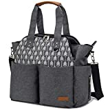 Lekebaby Extra Large Baby Diaper Bag for Mom in Grey, Arrows Print