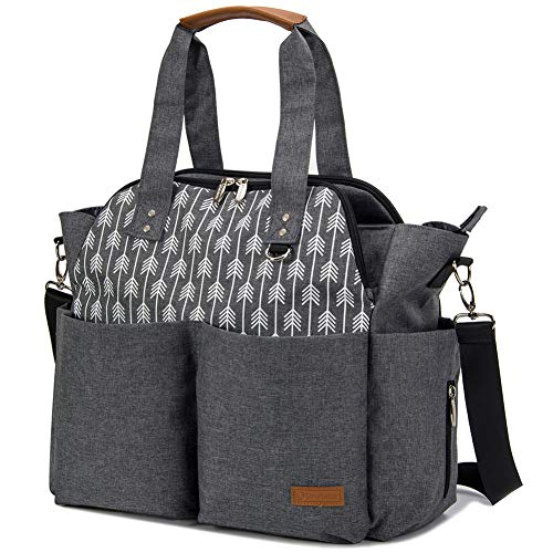 Lekebaby Large Diaper Bag Tote Satchel Messenger for Mom and Girls in Grey, Arrow Print