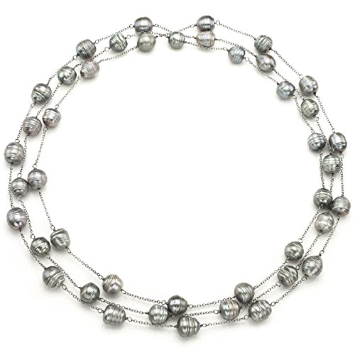Sterling Silver 10-10.5mm Dyed-grey Baroque Freshwater Cultured Pearl Endless Station Necklace, 60