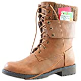 DailyShoes Womens Military Lace Up Buckle Combat Boots Ankle Mid Calf Fold-Down Exclusive Credit Card Pocket, Tan Pu, 9