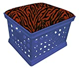 Blue Utility Crate Storage Container Ottoman Bench Stool for Office/Home/School/Preschool with Your Choice of a Colorful Zebra Pattern Fleece and a Free Flashlight! (Rust)