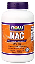 NOW Foods Nac-Acetyl Cysteine 600mg, 250 Vcaps (500 (250X2))