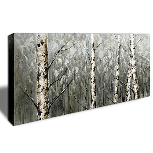 DINGDONG ART - Giclee Canvas Prints Wall Art White Birch Canvas Artwork Winter Scenery Black and White Tree Branch Pictures Stretched and Framed for Office Living Room Decor 20