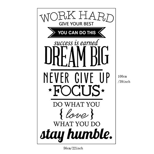 Home Art Mural Wall - Amaonm Removable Vinyl Quotes Work Hard, Stay Humble Wall Décor Stickers Lettering Saying Inspirational Art Decor Murals for Home Walls Offices Nursery Room Kids Bedroom Classroom (Black 1)