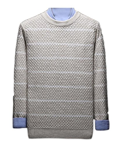 LinkShow Mens Knitted Color Splice Round Collar Silm Fit Stripes Pullover Sweaters